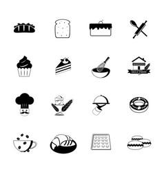 Bakery icons black vector