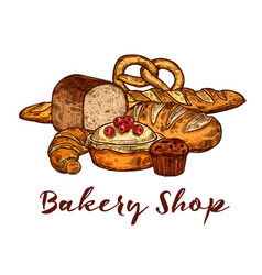 bakery shop sketch of wheat bread and pastry food vector image