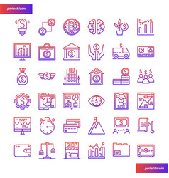Banking and financial gradient icons set vector