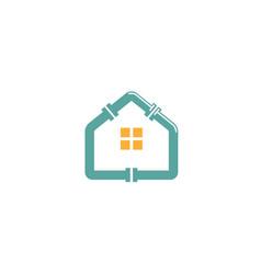 blue house plumbing rologo vector image