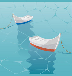 boat sailing in blue sea the boats are laid up vector image