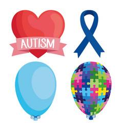Bundle world autism day set icons vector