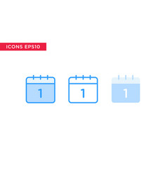 calendar icon in line outline filled outline and vector image