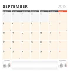 calendar planner for september 2018 design vector image