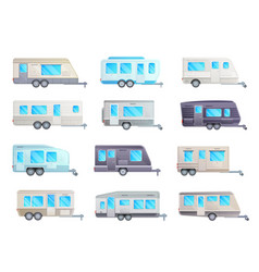 Camper trailer travel caravan rv car and van set vector