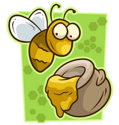 Cartoon cute yellow bee with honey jar icon vector