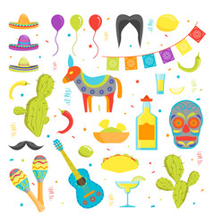 cartoon symbol of mexico color icons set vector image