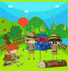 children camping out on rainy day vector image
