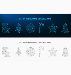 christmas decoration set made dot and line low vector image