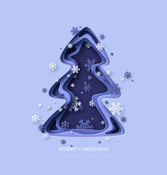 christmas holiday design paper cut christmas tree vector image