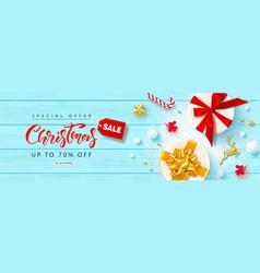 christmas salebanner with gift boxes gold metal vector image