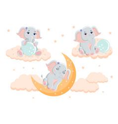 Collection cute little elephants vector