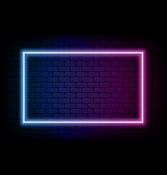 Color rectangle neon frame glowing neon light vector