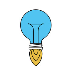 color sectors silhouette of bulb light in shape of vector image