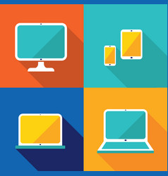colorful gadgets set computerlaptop tablet and vector image