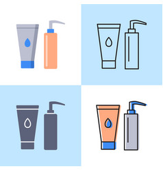 cosmetic bottles icon set in flat and line styles vector image