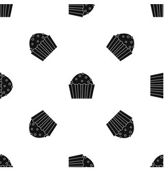cup cake pattern seamless black vector image