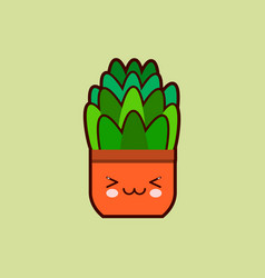 cute cartoon flower icon with funny face in pot vector image