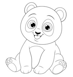 Cute funny little panda baby sitting smiling vector