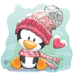 Cute Penguin in a knitted cap vector