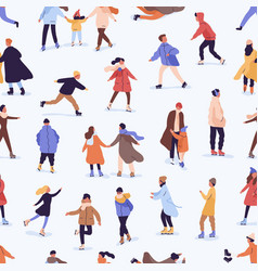 different people skating on a skating rink vector image