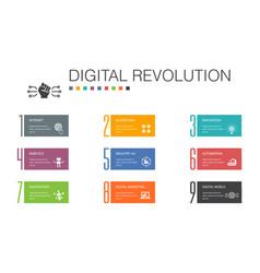 Digital revolution infographic 10 option line vector