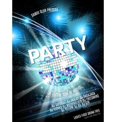 Disco Party Flyer Design with ball on vector