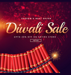 diwali sale with fireworks vector image