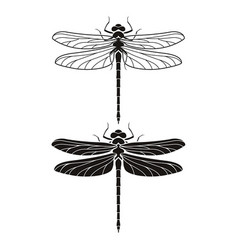 Dragonfly silhouette icons set vector