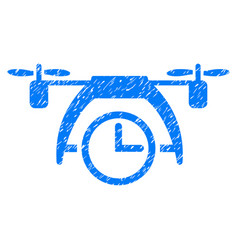 Drone clock grunge icon vector