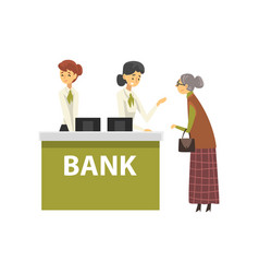 elderly woman consulting at manager bank office vector image