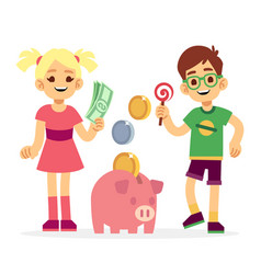 Financial literacy of children concept kids vector