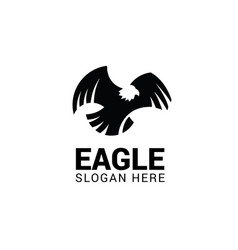 flying eagle logo template isolated on white vector image