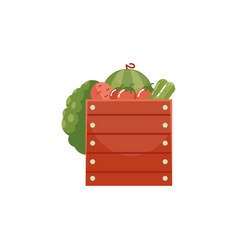 fresh ripe vegetables and fruits in wooden box vector image