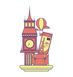 Full color big ben of london with air balloon vector