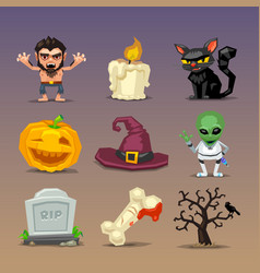 Funny halloween icons-set 4 vector