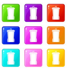 Garbage bin icons 9 set vector