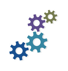 gears machinery pieces different colors vector image