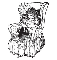 girl reading book in chair study vintage engraving vector image