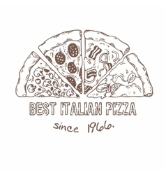 Half of pizza with different slices Sketched vector image