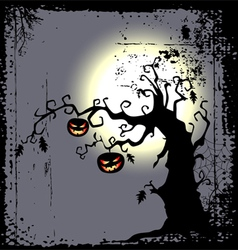 Halloween background with scary tree vector