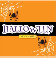 halloween design template with cobweb and spiders vector image