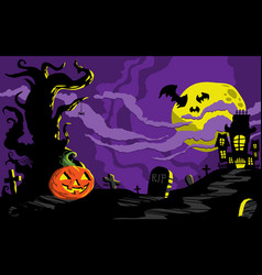 Halloween haunted house background template vector