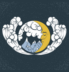 Hand drawn landscape with moon clouds waves vector