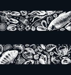 Hand drawn seafood frame design on chalk board vector