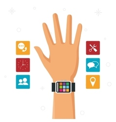 Hand with smart watch wearable technology vector