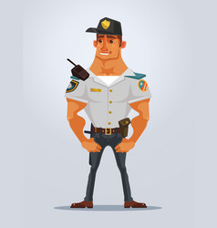 happy smiling strong muscular policeman character vector image