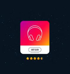 Headphones line icon music listening sign vector