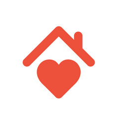 heart sign with roof house with heart red icon vector image