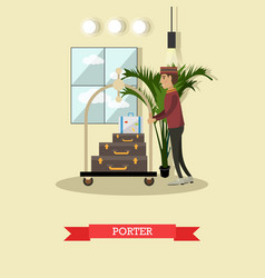 hotel porter concept in flat vector image